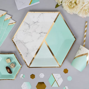 Colour Block Marble Paper Plates (Mint)