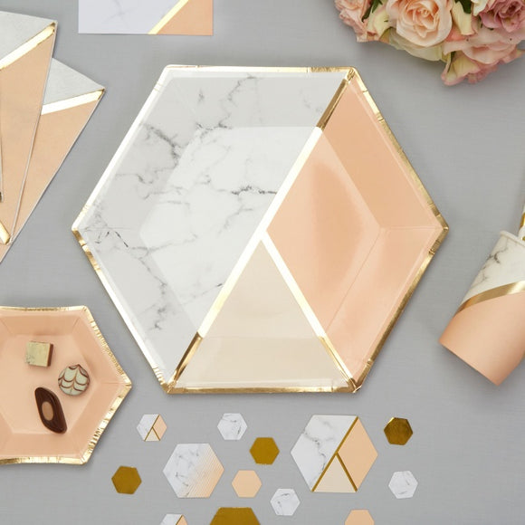 Colour Block Marble Paper Plates (Peach)