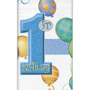 Wholesale Blue '1st Birthday' Plastic Tablecover