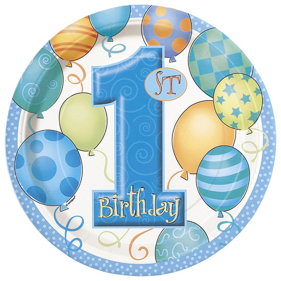 Wholesale Blue '1st Birthday' Plates