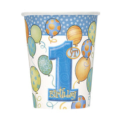 Blue '1st Birthday' Cups - 8 Pack