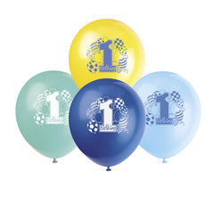 Blue '1st Birthday' Balloons - 8 Pack