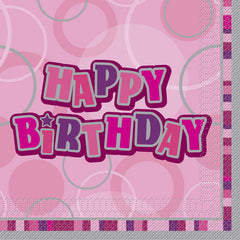 Pink Happy Birthday Napkins - 16 Pack