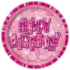 Pink Happy Birthday Plates - 8 Pack