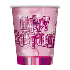 Pink Happy Birthday Cups - 8 Pack