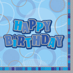 Blue Happy Birthday Napkins - 16 Pack