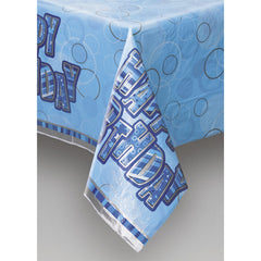 Blue Happy Birthday Table Cover