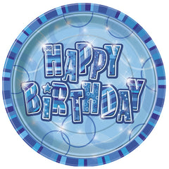 Blue Happy Birthday Plates - 8 Pack
