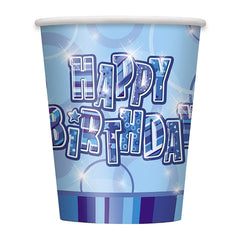 Blue Happy Birthday Cups - 8 Pack