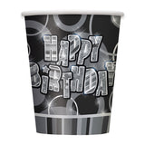 Wholesale Black Happy Birthday Cups - 8 Pack