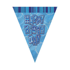 Blue Happy Birthday Flag Banner