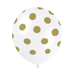 Wholesale 'Gold Dot' Balloons - 6 Pack