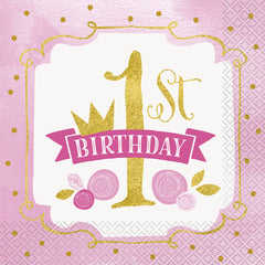 Pink '1st Birthday' Princess Napkins - 16 Pack