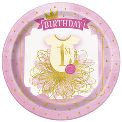 Pink '1st Birthday' Princess Plate - 8 Pack