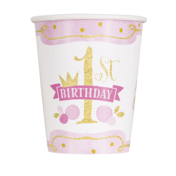 Wholesale '1st Birthday Princess' Paper Cups - 8 Pack