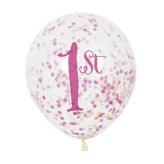 '1st Birthday Princess' Confetti Balloons - 6 Pack
