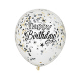 Wholesale Happy Birthday Confetti Balloons - Clear/Black