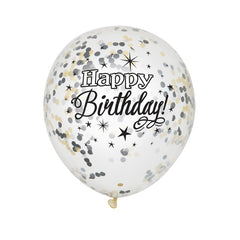 Happy Birthday Confetti Balloons - Clear / Black