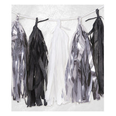 Silver / Black / White Tassel Garland