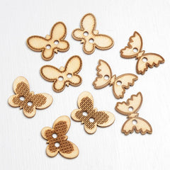 Wooden Butterfly Decorations / Buttons
