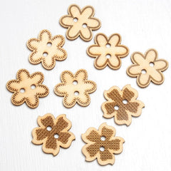 Wooden Flower Decorations / Buttons