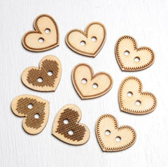 Wooden Heart Decorations / Buttons