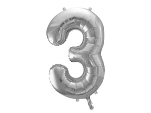 "Wholesale Foil Number Balloon '3' - 34"" (Silver)"