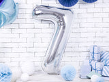 "Foil Number Balloon '7' - 34"" (Silver)"