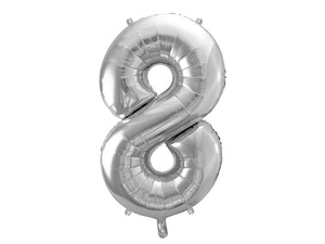 "Wholesale Foil Number Balloon '8' - 34"" (Silver)"
