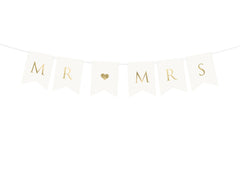Mr and Mrs Wedding Banner  - White