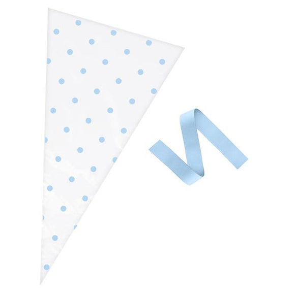 Wholesale 'Oh Baby' Polka Dot Cone Bags (Blue / Clear)