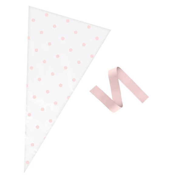 Wholesale 'Oh Baby' Polka Dot Cone Bags (Pink / Clear)