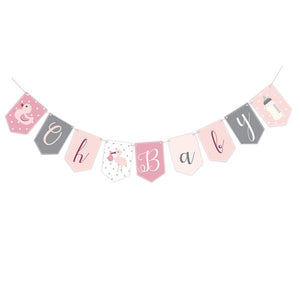 Wholesale 'Oh Baby' Baby Shower Bunting (Pink)