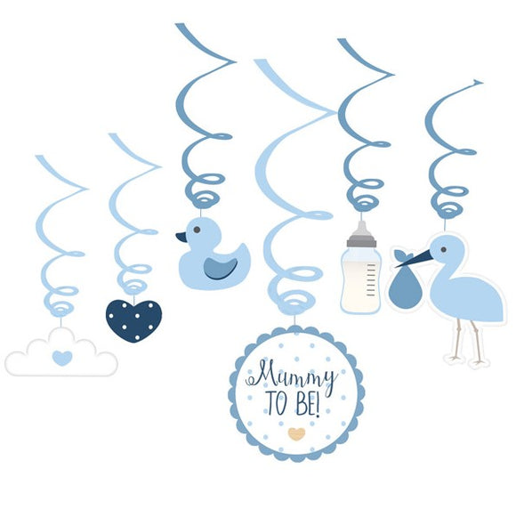 Wholesale 'Oh Baby' Swirl Decorations (Blue)