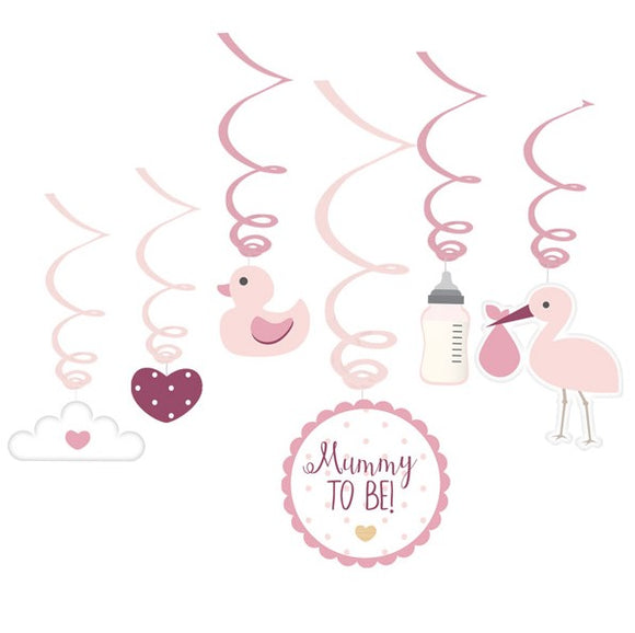 Wholesale 'Oh Baby' Swirl Decorations (Pink)