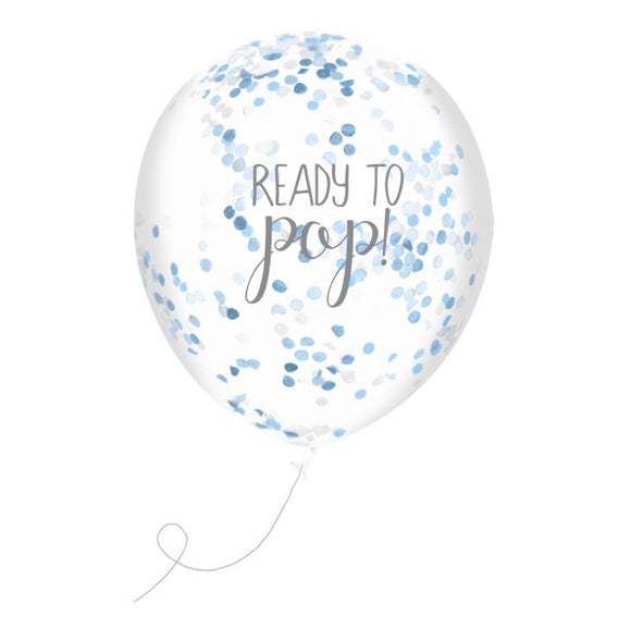 Wholesale 'Oh Baby' Confetti Balloons (Blue)