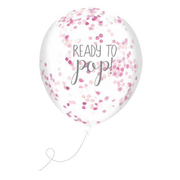 Wholesale 'Oh Baby' Confetti Balloons (Pink)