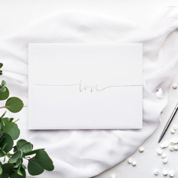 Wholesale White Guest Book - Silver Love