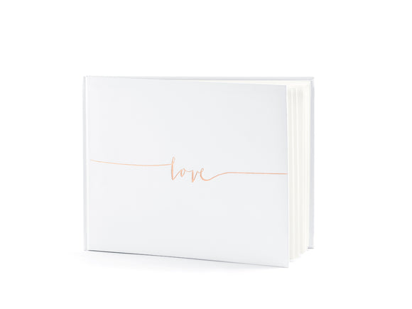 WHOLESALE WHITE GUEST BOOK - ROSE GOLD LOVE