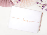 White Guest Book - Rose Gold Love