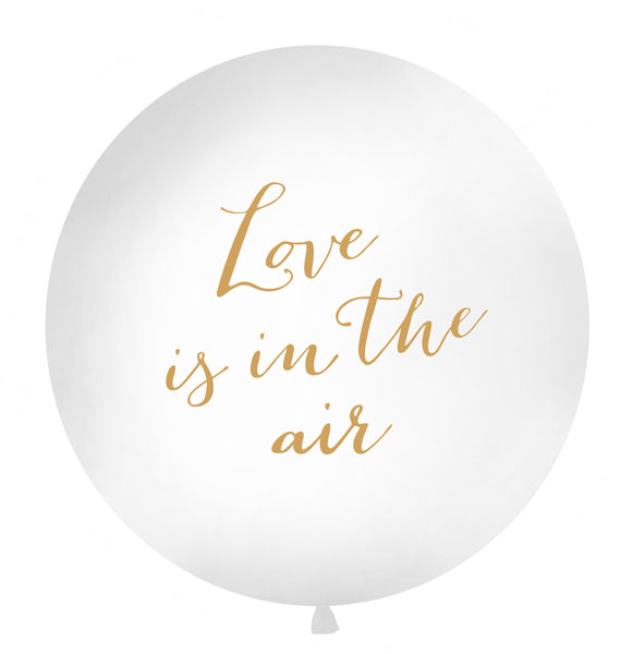 WHOLESALE 1 METRE BALLOON GOLD - 'LOVE IS IN THE AIR'