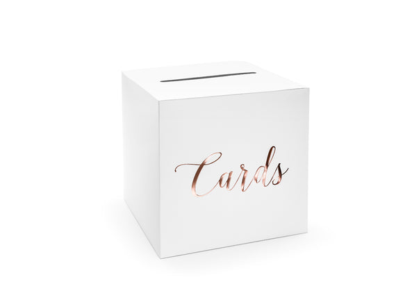 Wholesale White And Rose Gold Card Posting Box