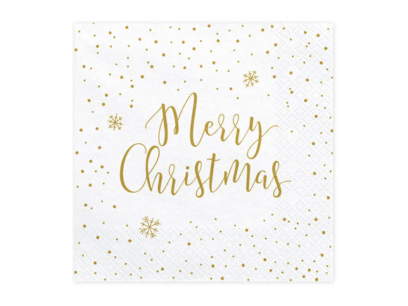 White 'Merry Christmas' Napkins - 20 Pack