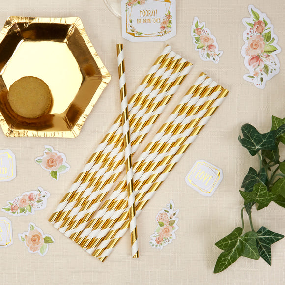 Wholesale Striped Gold Foil Paper Straws - 25 Pack