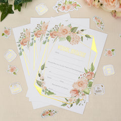 Geo Floral Wedding Invitations - 10 Pack