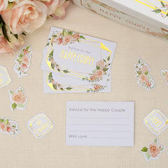 Geo Floral Wedding Advice Cards - 25 pack