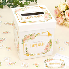 Geo Floral Wedding Wishes Card Posting Box