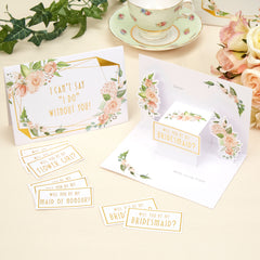 Geo Floral Bridal Party Invitations - 3 Pack