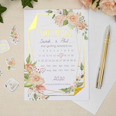 Geo Floral Save The Date Cards - 10 Pack