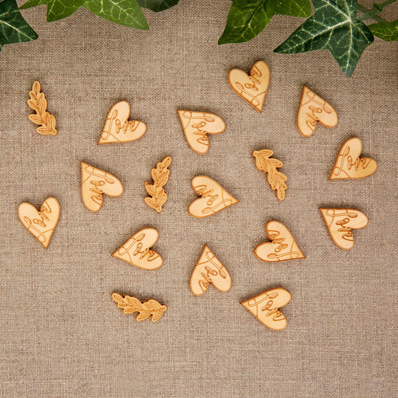 Wholesale Hearts and Krafts Wooden Table Confetti